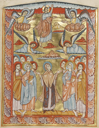The Ascension, by an unknown Ottonian artist, working in tempera colors and gold on parchment, in Mainz or Fulda, Germany, about 1025 - 1050. Courtesy of The J. Paul Getty Museum