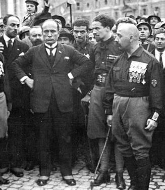 Mussolini and early supporters during the March on Rome, 1922