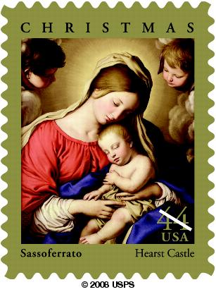 picture of Christmas-themed postage stamp