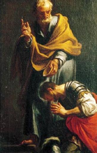 Trevisani painting of Peter baptizing Cornelius