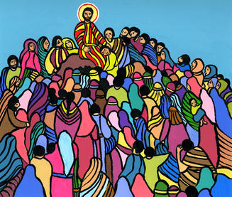 a painting for children of the Sermon on the Mount, by Gisele Bauche of Saskatoon, Saskatchewan, Canada