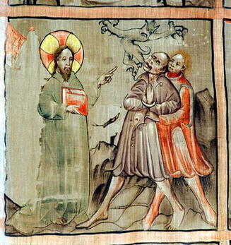 Jesus Christ dispossesses (section of painting scenes on the abstinence cloth in the Cathedral of Gurk, Carinthia, Austria)