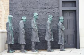sculpture of a Depression-era breadline by George Segal