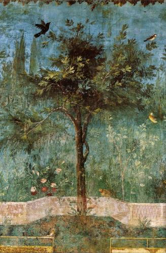 The Painted Garden of the Villa of Livia (Detail), Wall frescoes, Villa of Livia semi-subterranean chamber, (Prima Porta, near Rome); 30-20 BCE. Palazzo Massimo Museum, Rome, Italy.