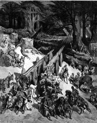 woodcut by Gustave Doré, Cutting Down Cedars for the Construction of the Temple