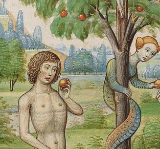 15th-century book illumination showing Adam and Eve