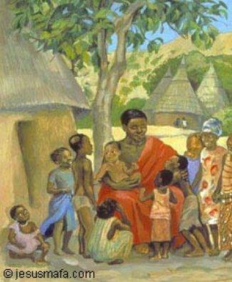 Painting of Jesus welcoming chldren from www.jesusmafa.com