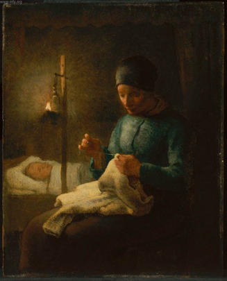 Millet painting of mother and sleeping child