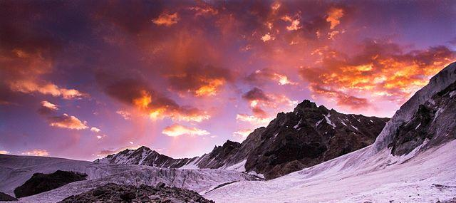 Sunrise on Kalindi mountain Himalayas Uttarakhand India, from Wikimedia Commons