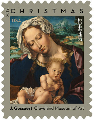 Nativity image on a postage stamp