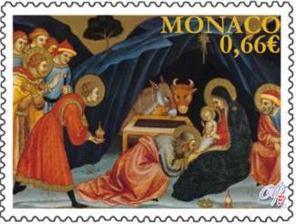 Christmas postage stamp, Principality of Monaco, 2014