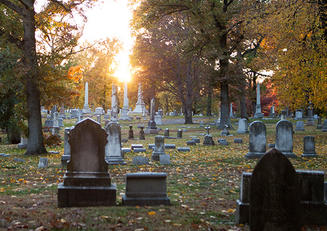 photo of cemetery at sunrise