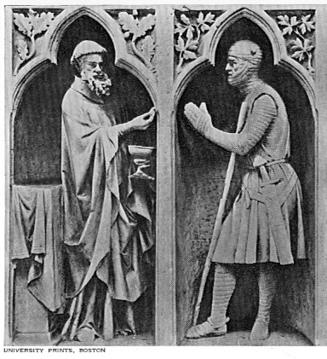 Carving at Reims Cathedral showing Abraham & Melchizedek