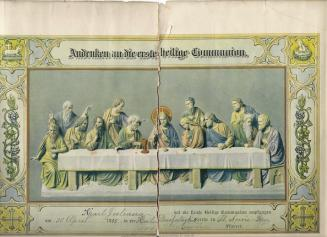 an old certificate of First Holy Communion illustrated with a relief sculpture of the Last Supper
