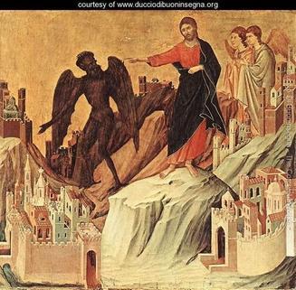 Temptation of Christ by Duccio de Buoninsegna. See below.