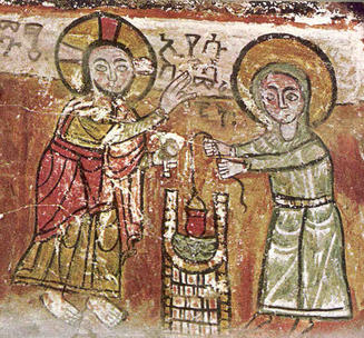 church wall painting of Jesus and the woman at the well
