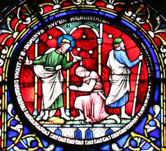 Samuel anoints a king, stained glass, Ely Cathedral, England