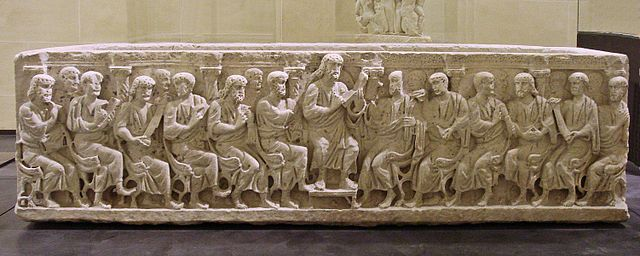picture of 4th-century sarcophagus showing Jesus teaching