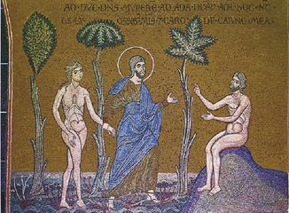 a mosaic of Adam and Eve, without serpent or apple
