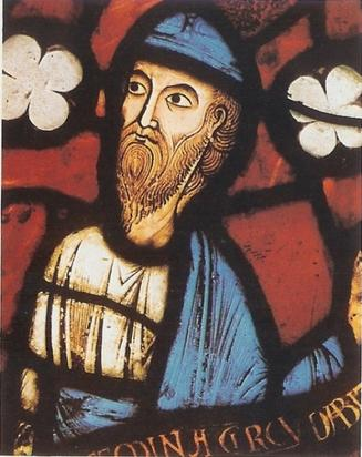 Prophet Jeremiah in stained glass, Abbey of Saint Denis, 1150, Burrell Collection