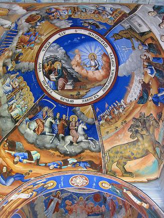 Daniel's apocalypse in fresco in medieval Macedonian monastery